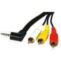 Câble Jack 3,5mm / 3 RCAM + adaptateur Péritel / RCAF
